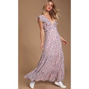Darling Daydream Floral Print Ruffled Maxi Dress